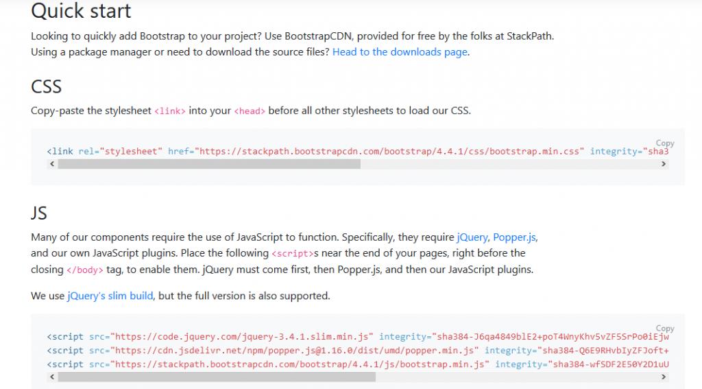 Lequick startde la documentation officielle de Bootstrap