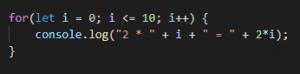 Avec la condition de fin « i <= 10 »