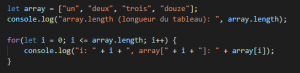 i <= array.length, soit i <= 4