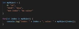 Boucle « for..in » sur un objet avec des index mixtes
